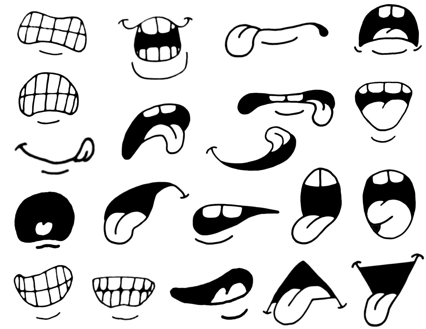 Secondary 20cartoon 20mix 20and 20match 20mouths on scary cartoon expressions