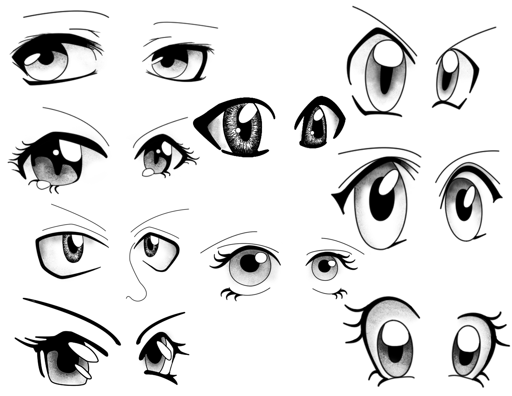 Line Drawing Eye : Cartoon eyes mix and match to create your own cartoons